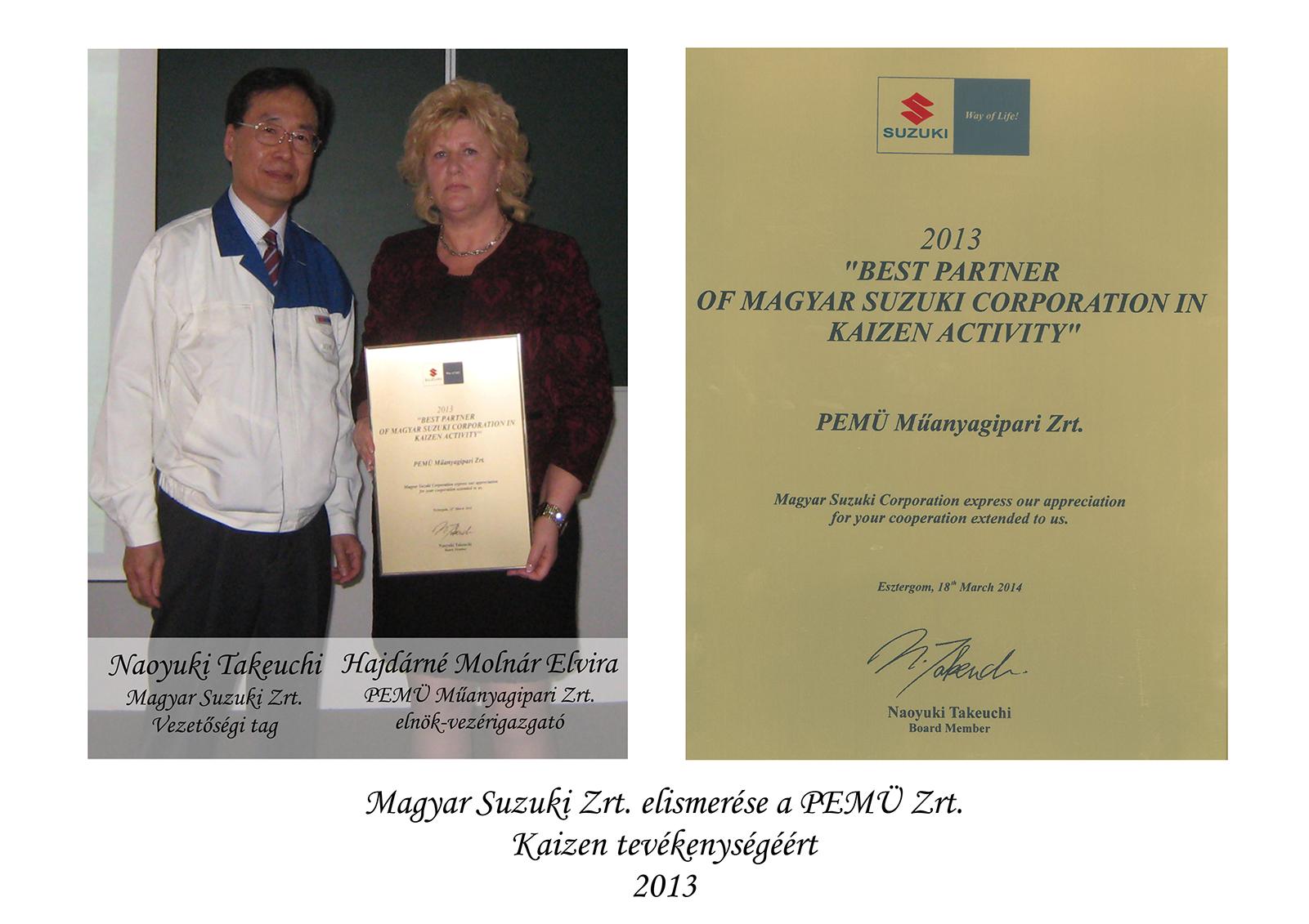 Magyar Suzuki Zrt. elismerése a PEMÜ Zrt. Kaizen tevékenységéért. 2013